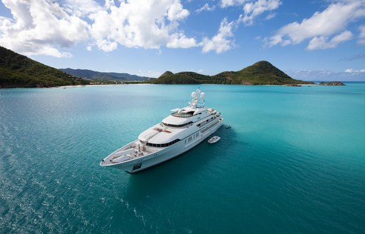 superyacht in open waters in the caribbean