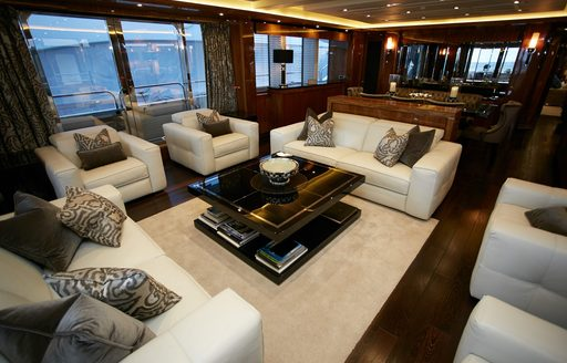 Main salon with side balconies on board motor yacht