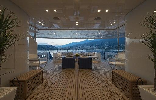 luxury yacht arbema sundeck view down the deck