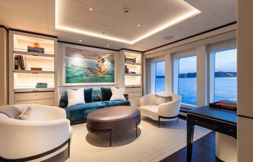 lounge area on motor yacht lunasea