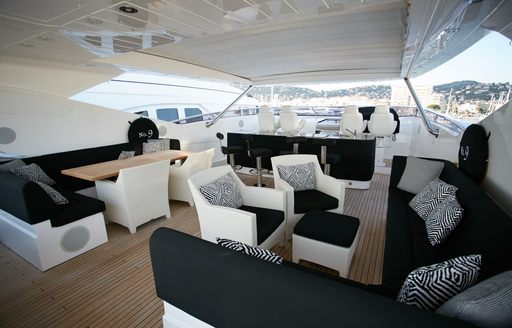 Sundeck seating areas and wet bar on board No.9 of London