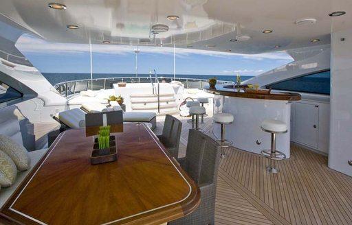 Sundeck on EROS Superyacht with bar