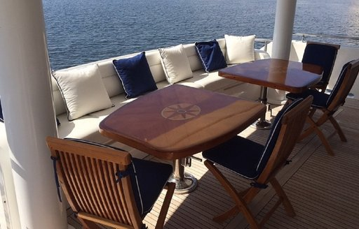 alfresco dining on the aft deck of charter yacht SANCTUARY