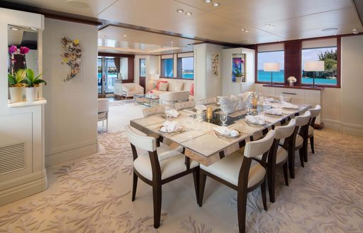 the interiro dining area of superyacht time for us as she cruises the New England