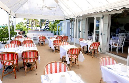 indoor seating at dunmore restaurant in the Bahamas