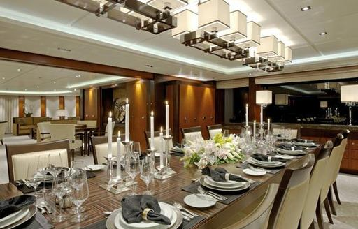 Dining room onboard a luxury charter yacht
