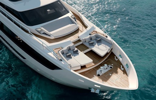 Sunpads at bow of Ferretti superyacht EPIC