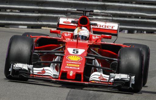 Sebastian Vettel on the track at the Monaco Grand Prix