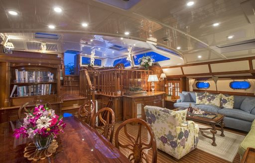 lounge and dining salon in main salon of sailing yacht Whisper