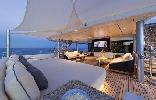 The video screen on the exterior of superyacht ROMEA