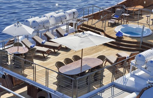 Sundeck of famous charter yacht Christina O, with dining and seating options