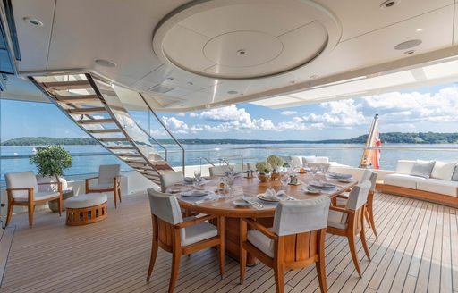 feadship charter yacht hasna alfresco dining arrangement