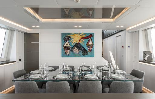 Interior dining area on motor yacht SANDS