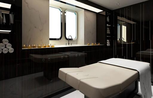 elegant spa and treatment room on luxury yacht soaring