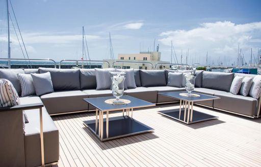 The sundeck of luxury yacht Princess AVK