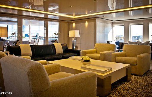 Main salon seating area on board motor yacht Odessa II