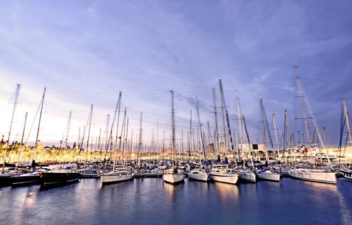 OneOcean Port Vell in Barcelona, Spain, at twilight