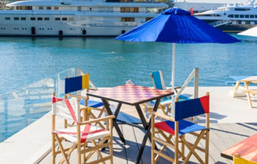 Harbour-side dining at OceanOne Marina, Barcelona