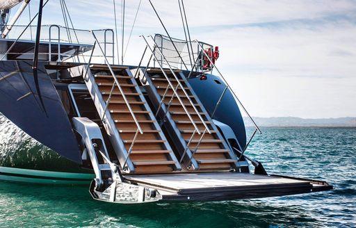 retractable swim platform aboard charter yacht VERTIGO