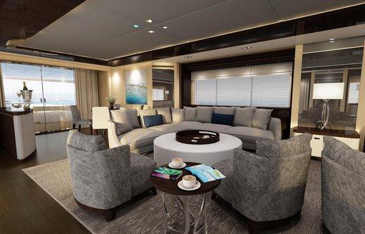 Interior of Sunseeker yacht BLUSH