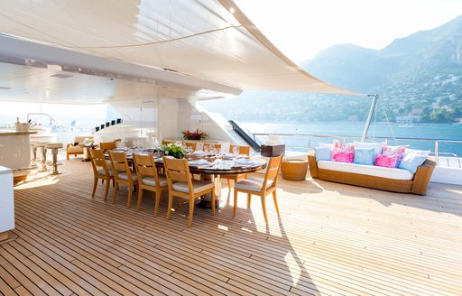 Alfresco dining set up on luxury yacht W