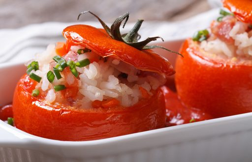 stuffed tomatoes served in Greece