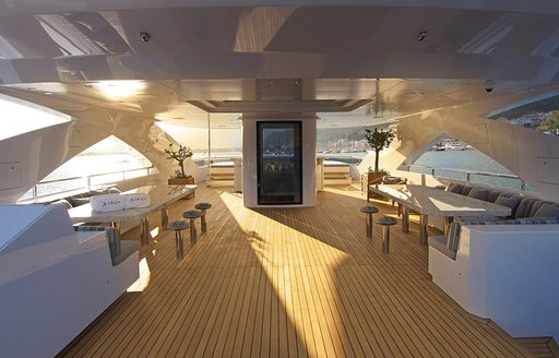 luxury yacht baba's sundeck dining area