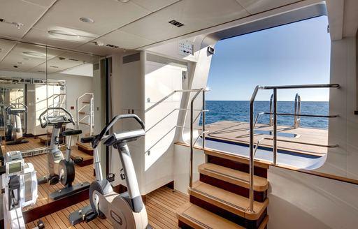 waterside gymnasium aboard charter yacht VERTIGO