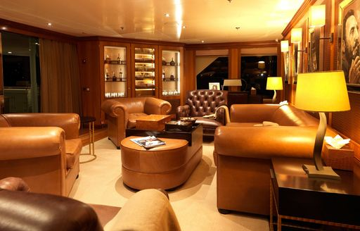 the club lounge in crewed yacht the wellesley aka the wellington can wnjoy an intimate setting as they cruise the coasts of palma as part of the Bravotv series below deck mediterranean