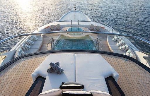 Sundeck on motor yacht KISMET as seen from observation deck