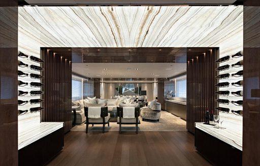 Main salon of luxury yacht VIDA