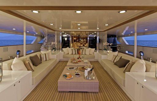 Seating on O'MEGA's sun deck