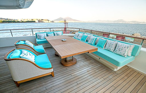 Lounging area onboard charter yacht Mimtee