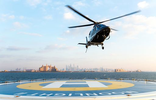 private helicopter arriving at airport