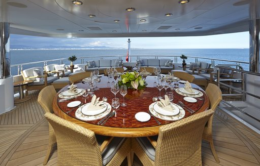 Main deck aft alfresco dining area on board charter yacht Zoom Zoom Zoom