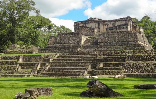 Ancient stone pyramid built by Mayan people in Belize