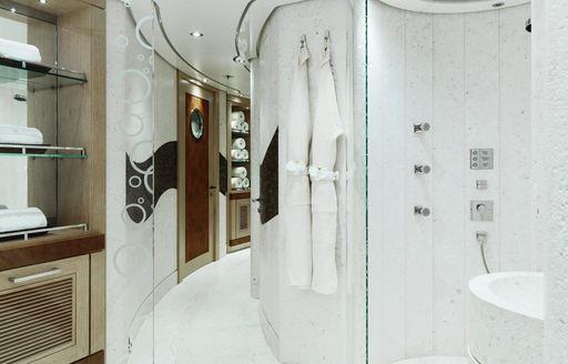 Spa and sauna on superyacht EQUANIMITY