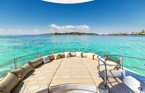 View over sunpads on crows nest of superyacht