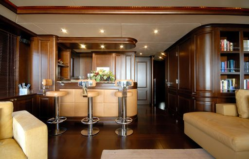 bar and seating in the skylounge aboard luxury yacht 'Elena Nueve'