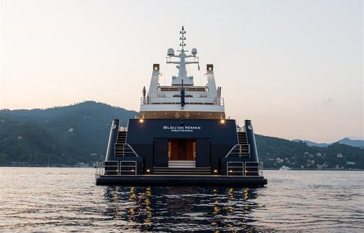 View of superyacht 'Bleu De Nimes' from behind