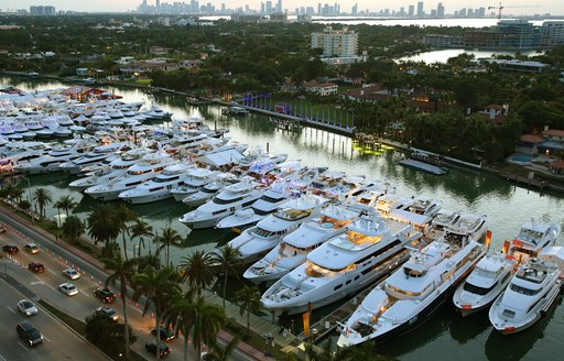 luxury yachts attending miami yacht show