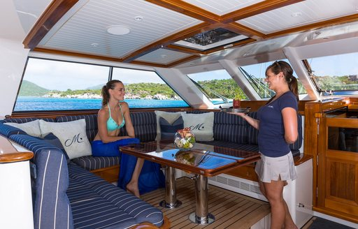 cocktails are served in cockpit of motor yacht MARAE