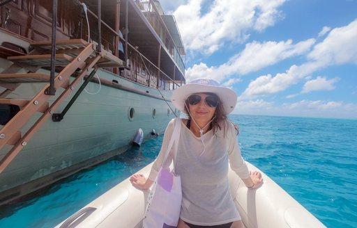 katia damborsky on a yacht in east africa