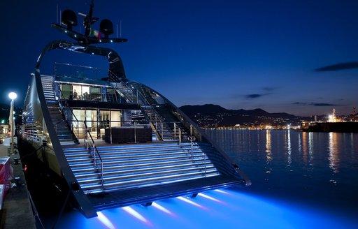 Underwater lights on Ocean Emerald Yacht