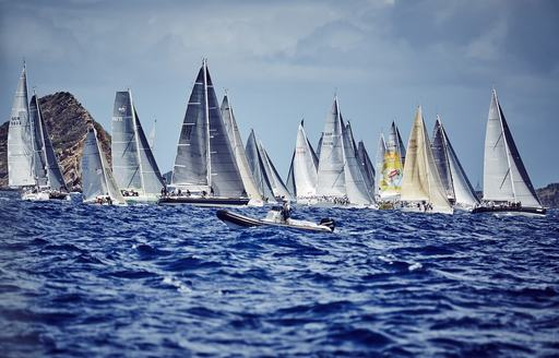yachts vie it out for first place at the Les Voiles de St. Barth 2015