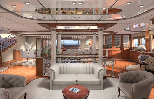 main salon lounge are on board expedition yacht LEGEND