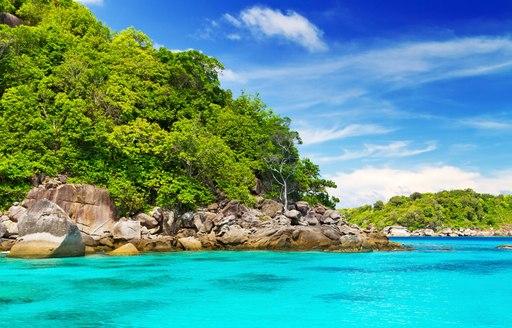 Bright blue sea on Similan Islands