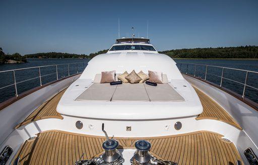 Sunpads on sundeck of Superyacht Queen of Sheba