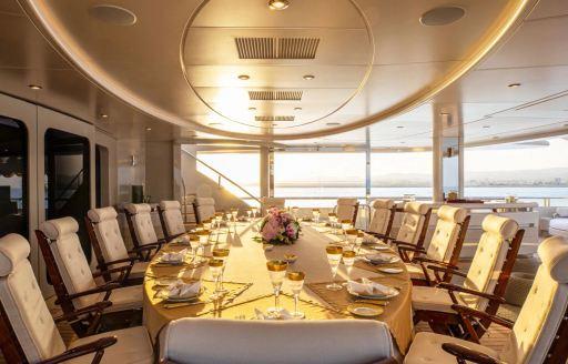 Alfresco dining area onboard MY Valerie