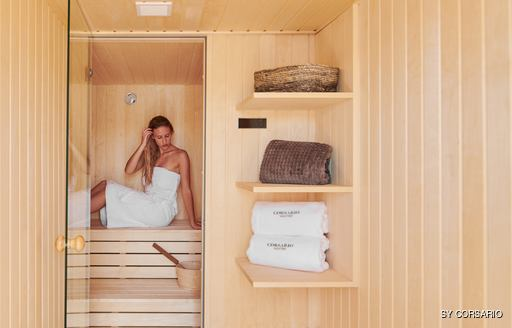 Sauna onboard SY Corsario